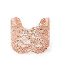 Aurelie Bidermann | Metallic Rose Gold-plated Lace Cuff | Lyst