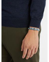 Valentino - Blue Rockstud-embellished Leather Bracelet for Men - Lyst