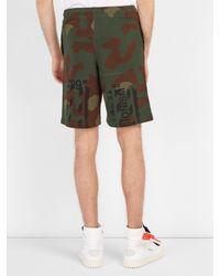 Off-White c/o Virgil Abloh - Green Short en coton à imprimé camouflage for Men - Lyst