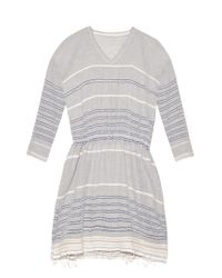 Lemlem - Gray Almaz Striped Cotton-blend Dress - Lyst