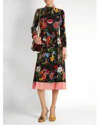 Gucci - Black Floral And Snake-print Silk Midi Dress - Lyst