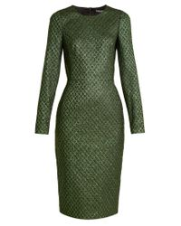 Dolce & Gabbana | Green Long-sleeved Diamond-jacquard Dress | Lyst
