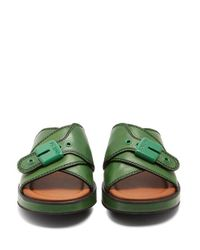 Joseph - Green Crossover Buckle-detailed Leather Flatform Slides - Lyst
