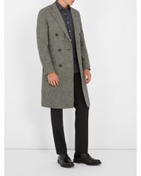 Lanvin - Multicolor Double-breasted Checked Wool Coat for Men - Lyst