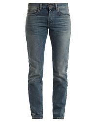 Saint Laurent - Blue Low-rise Straight-leg Boyfriend Jeans - Lyst
