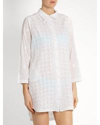 Juliet Dunn White Floral Embroidered Cotton Shirtdress