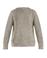 Acne | Gray Dramatic Round-neck Brushed-knit Sweater | Lyst