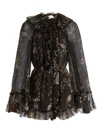 Zimmermann - Black Paradiso Floating Floral-print Silk Playsuit - Lyst