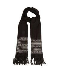 Saint Laurent - Black Tassel-trimmed Chevron Wool-blend Scarf for Men - Lyst