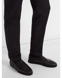 Bottega Veneta - Black Espadrilles en cuir intrecciato Gala for Men - Lyst