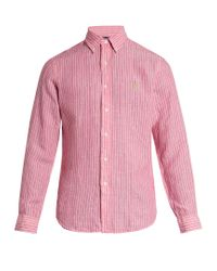 deb8e1bf8 Polo Ralph Lauren Logo-embroidered Striped Linen Shirt in Pink for ...
