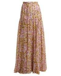 Giambattista Valli - Pink Flower Obsession-print Silk Skirt - Lyst