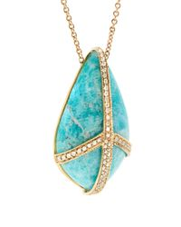 Jacquie Aiche - Blue Diamond, Agate & Yellow-gold Necklace - Lyst