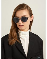 Prada - Blue Round Frame Tortoiseshell Sunglasses - Lyst