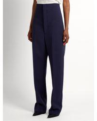Balenciaga - Blue Mariner Dropped-crotch Wool-blend Trousers - Lyst