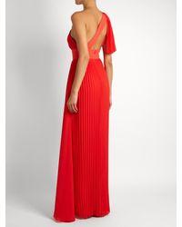 Elie Saab - Red One-shoulder Pleated Georgette Gown - Lyst