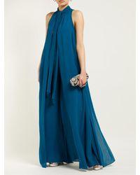 Elie Saab Blue Tie Neck Layered Silk Georgette Jumpsuit