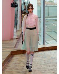 Prada Pink Ruffle Georgette Blouse