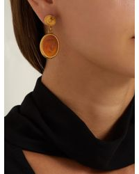 Versace - Brown Cameo Gold-tone Brass Dropped Earrings - Lyst