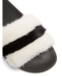 Givenchy - Multicolor Mink-fur And Rubber Slides - Lyst