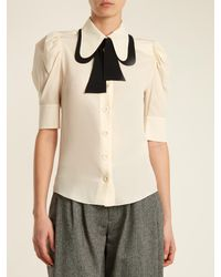 Chloé - Multicolor Tie-neck Silk Crepe De Chine Blouse - Lyst