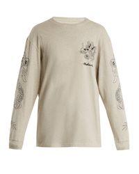 Maharishi - Gray Stencil Dragon Logo-embroidered Cotton Sweatshirt - Lyst
