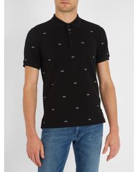Fendi - Black Bag Bugs-embroidered Cotton-piqué Polo Shirt for Men - Lyst