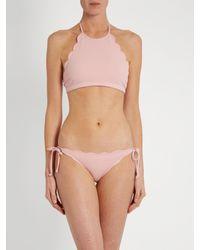 Marysia Swim | Pink Mott Scallop-edged Halterneck Bikini Top | Lyst