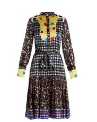Duro Olowu - Blue Contrast-panel Floral And Check-print Silk Dress - Lyst