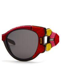 Prada - Velvet-covered Cat-eye Sunglasses - Lyst