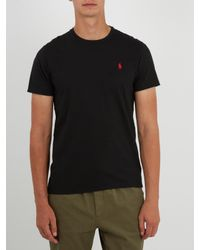 Polo Ralph Lauren - Black Logo-embroidery Cotton-jersey T-shirt for Men - Lyst