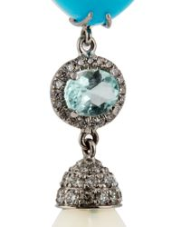NSR Nina Runsdorf - Blue Diamond, Turquoise, Opal & White-gold Earrings - Lyst