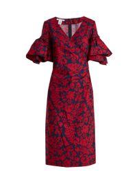 Oscar de la Renta | Red Decorative Floral-print Cotton-blend Poplin Dress | Lyst