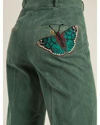 Gucci - Green Wide-leg Cotton-blend Corduroy Trousers - Lyst