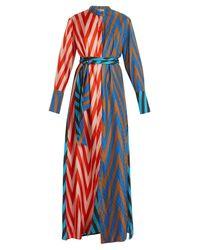Diane von Furstenberg - Blue Odeon Chevron-print Silk Satin-twill Dress - Lyst
