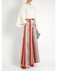RED Valentino - Red Striped Wide-leg Satin-gabardine Trousers - Lyst