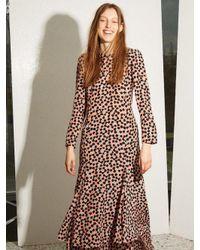 Raey - Pink Bracelet-sleeve Pleat-front Ditsy-print Silk Dress - Lyst