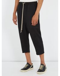 Rick Owens | Black Dropped-crotch Wool-blend Cropped Trousers for Men | Lyst