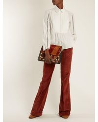 Chloé - White Lace-insert Pleated-bib Cotton Shirt - Lyst