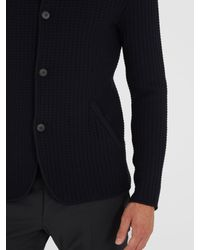 Giorgio Armani - Blue Mandarin-collar Waffle-knit Cardigan for Men - Lyst