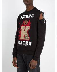 Dolce & Gabbana - Black Appliqué-detail Distressed Cotton Sweatshirt for Men - Lyst