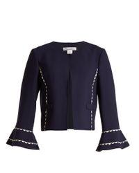 Oscar de la Renta | Blue Ric-rac Trimmed Wool-blend Crepe Jacket | Lyst