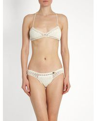She Made Me - Natural Essential Crochet Triangle Bikini Top - Lyst