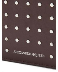 Alexander McQueen - Brown Studded Bi-fold Leather Wallet for Men - Lyst