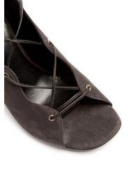 Saint Laurent - Gray Babies Lace-up Suede Sandals - Lyst
