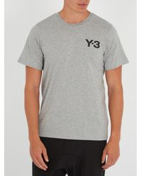 Y-3 - Gray Logo-print Cotton T-shirt for Men - Lyst