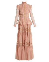 Elie Saab - Pink Frilled Crepe Georgette & Lace Gown - Lyst
