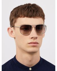 Prada - Metallic Aviator Frame Metal Sunglasses for Men - Lyst