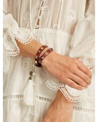 Valentino - Red Rockstud Wrap-around Leather Bracelet - Lyst