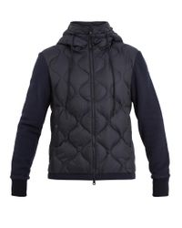 Moncler | Blue Hooded Contrast-panel Quilted Down Jacket for Men | Lyst